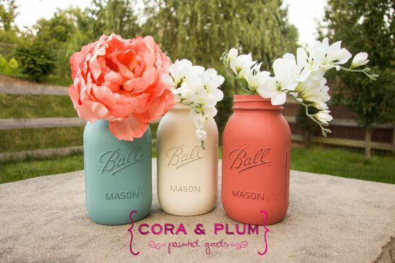 Coral Turquoise Beach Coastal Shabby Chic Painted Mason Jar Wedding Centerpieces Baby Bridal Shower Country Wedding Home Decor Gender Reveal on Etsy, $24.00