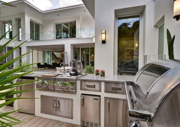 Summer outdoor kitchen in modern style