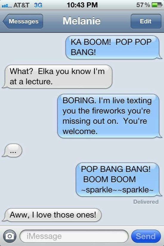 Live texting fireworks clean funny