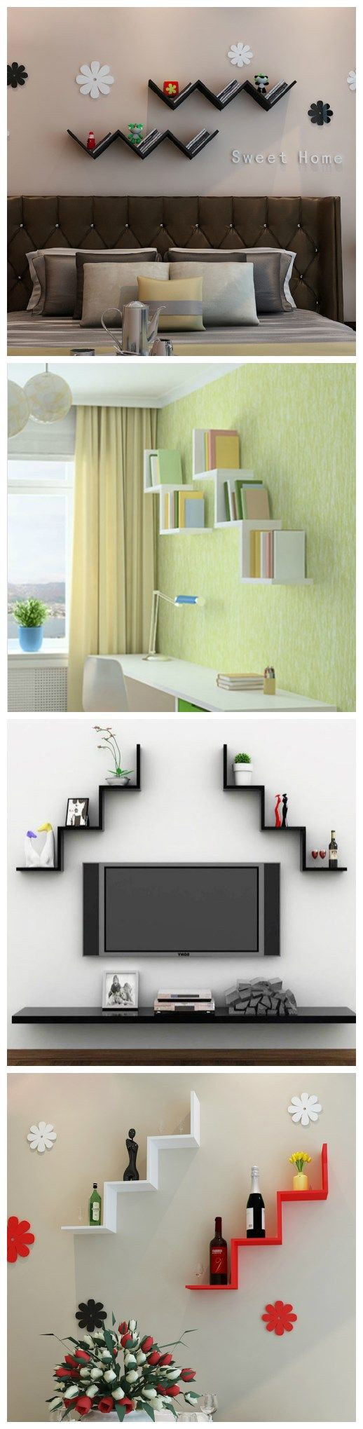 Wowwww....This W shaped floating wall shelves are perfect for any room of my home, including kitchen, bedroom and living areas | links: http://www.zosomart.com/home-living/home-accessories/w-shaped-floating-wall-shelf.html