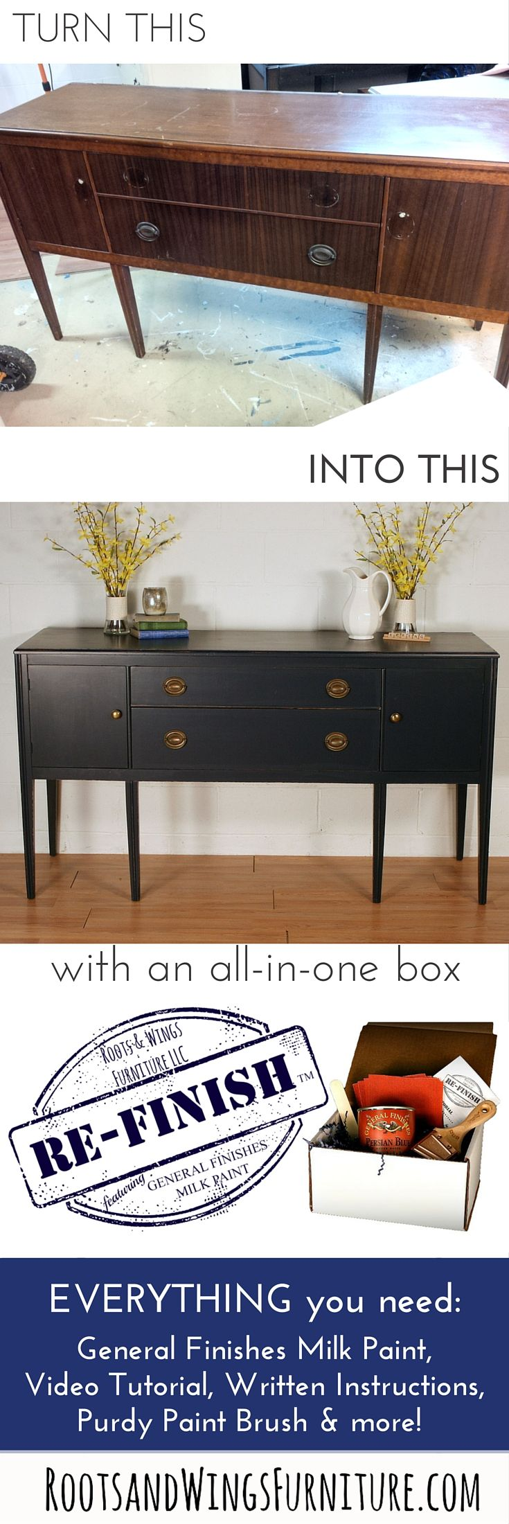 A shabby thrift store buffet turned into a navy blue beauty with General Finishes Coastal Blue Milk Paint.  You can transform a piece of furniture too with this Re-Finish kit!