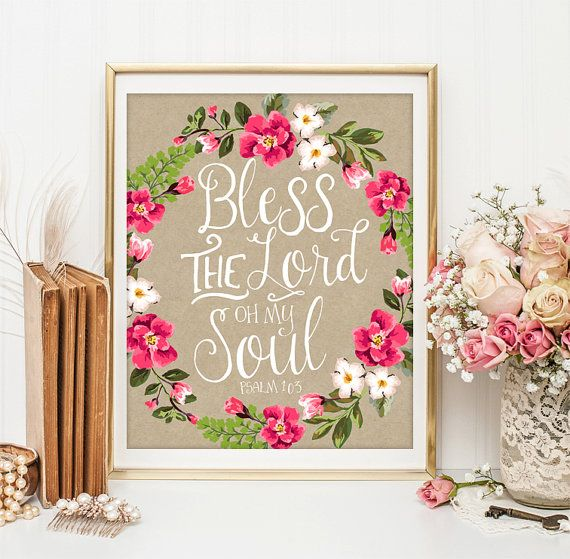 Bible verse art scripture wall art decor bless the lord oh for Bible verse decor