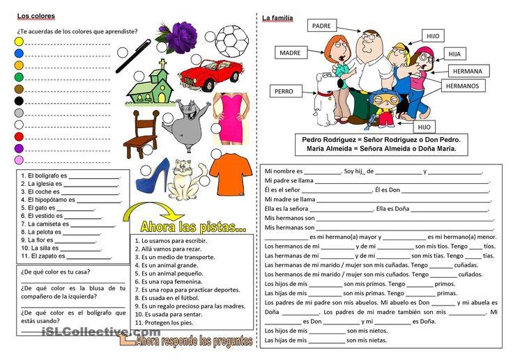 Los colores y la familia trabajos - Hojas de trabajo de ELE gratuitas