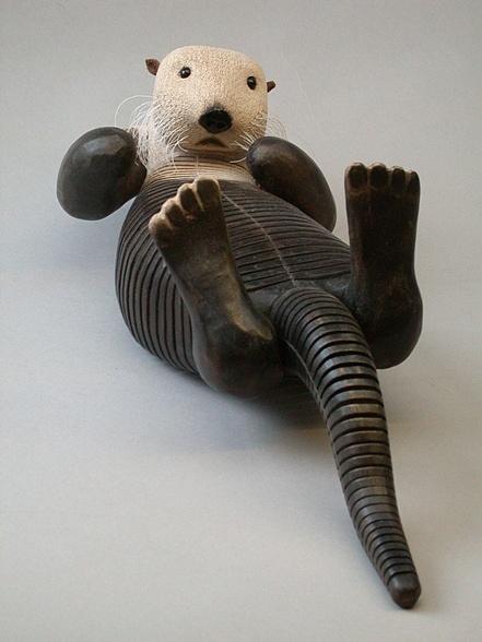 Jeff Soane - Sea Otter  - articulated wooden sculpture