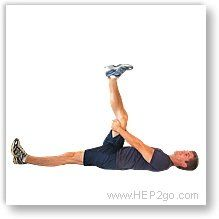 Hamstring Stretch for Bakers Knee Cyst. Approved use by HEP2go.com