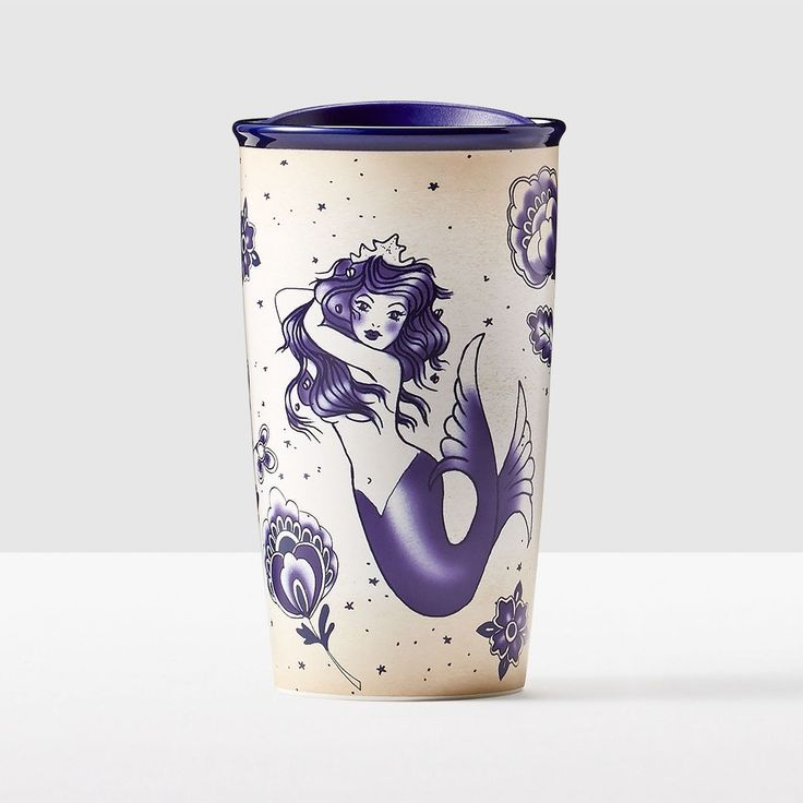 Siren Illustration Double Wall Traveler. Inspired by intricate sailor tattoos, this rendition of the Siren will be a permanent favorite in your collection.