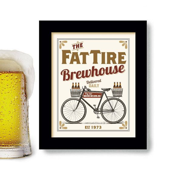 Bicycle Art Beer Art Brewhouse Sign Cycling Art Bar Art by DexMex, $18.00