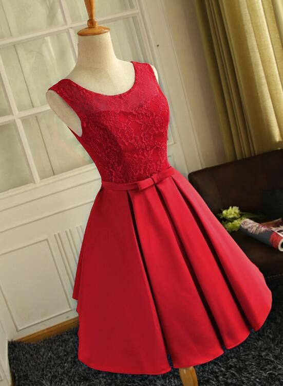 e68090b07e3 Cute Red Satin Round Neckline Party Dresses