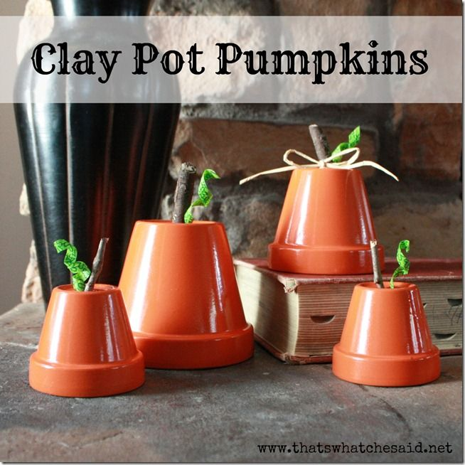 Clay Pot Pumpkins...So easy and so cute!  #falldecor #pumpkins #upcycling