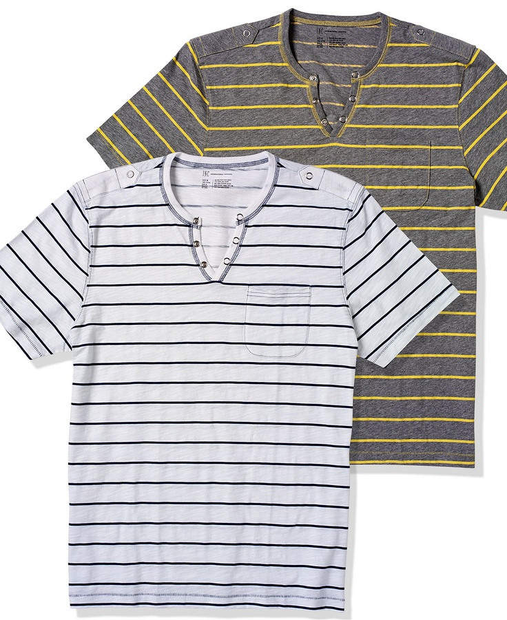 INC International Concepts T Shirt, Nollie Stripe Split Neck T Shirt