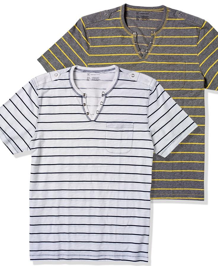 INC International Concepts T Shirt, Nollie Stripe Split Neck T Shirt