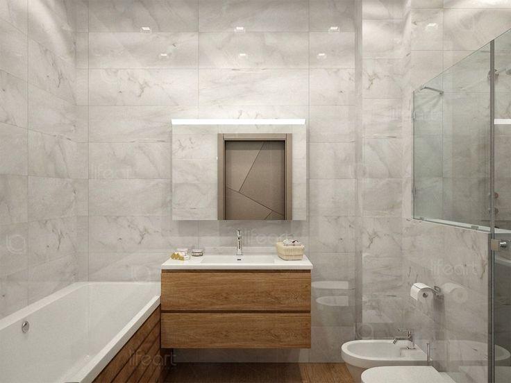 Ванная комната, современный стиль, плитка под мрамор, зеркальная стена плитка под дерево