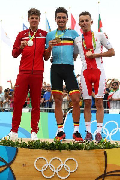 Jakob Fuglsang, Greg van Avermaet, Rafal Majka medal ceremony Men's Road Race Rio Olympic Games 2016 Getty Images