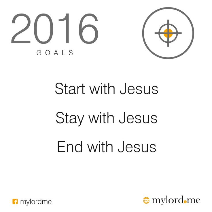 2016 GOALS Start with Jesus Stay with Jesus End with Jesus