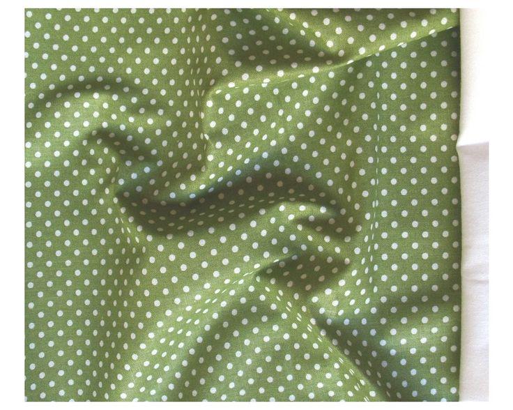 Zöld, apró pöttyös pamut vászon | Textilpont