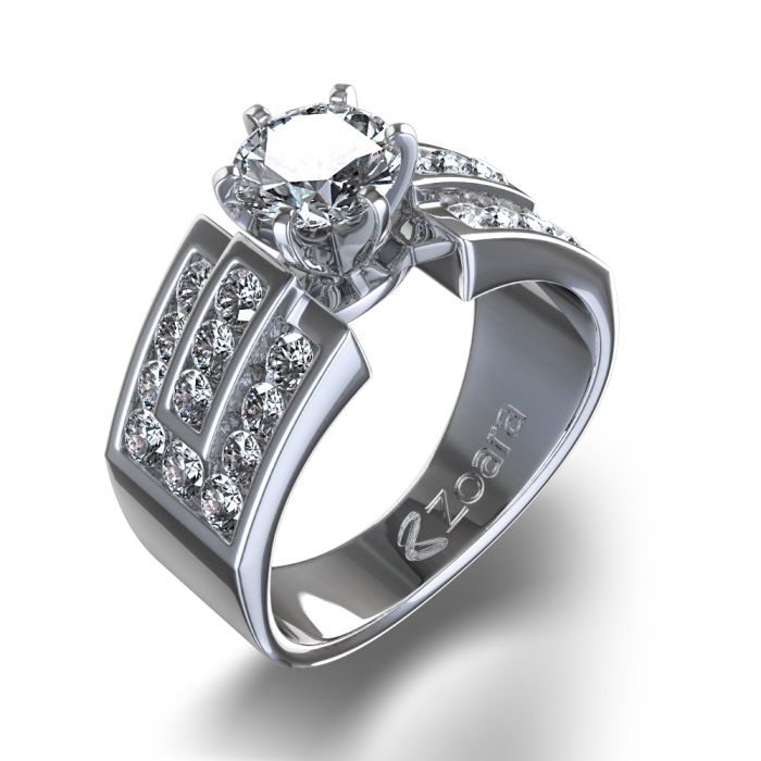Nice Royal Channel Set Diamond Ring in k White Gold