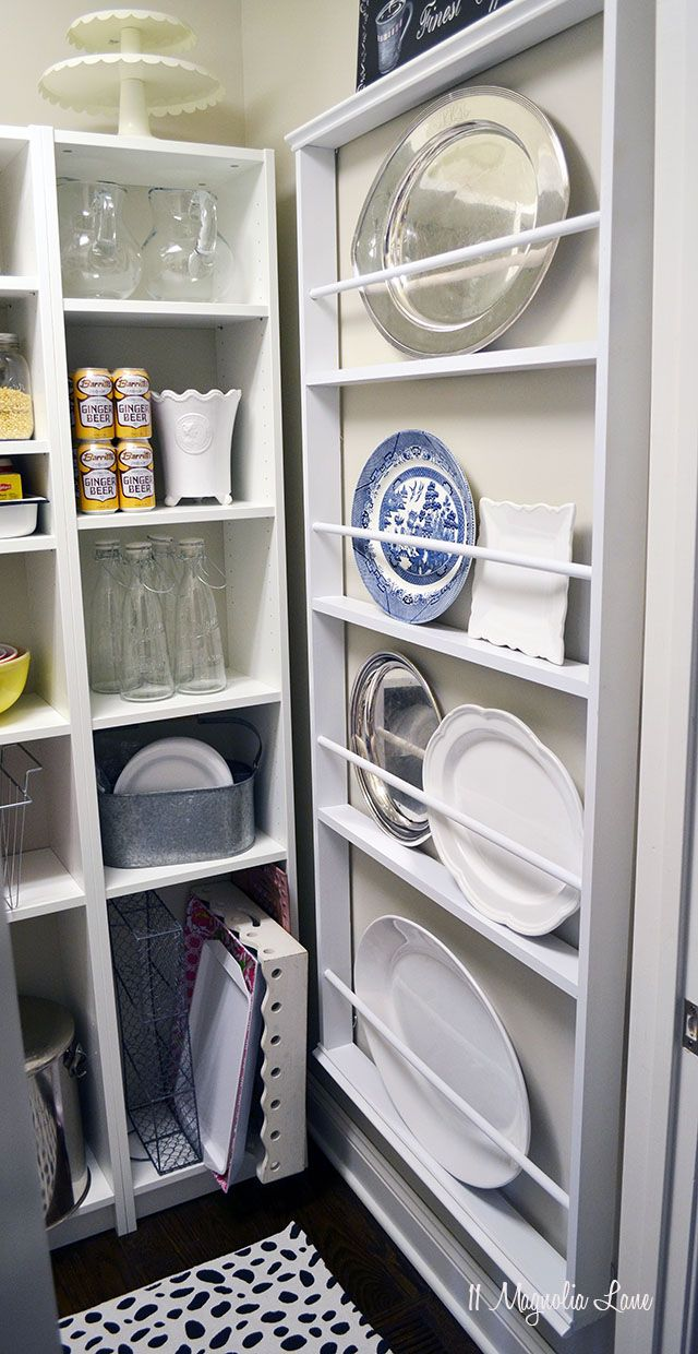Maximize wall space in a walk-in pantry by building a rack for plates and platters | 11 Magnolia Lane