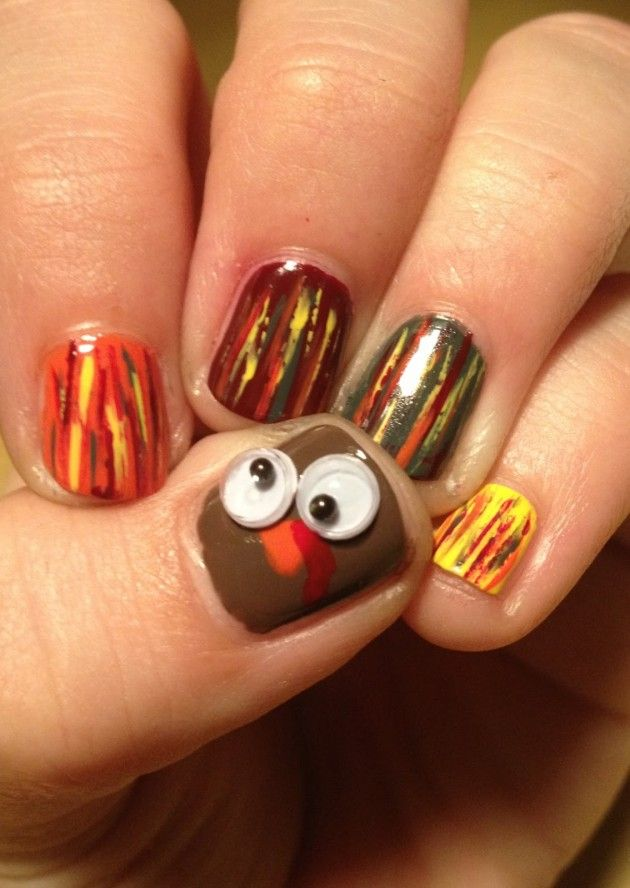Turkey Nails For Thanksgiving With Fingers For Tail Feathers 11 22