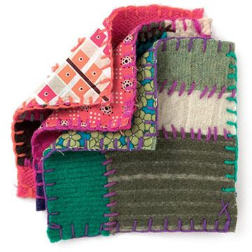 Made from old sweaters these pot holders are sure to add a bit of color to any kitchen decor.
