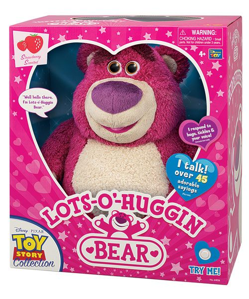 Lots-o'-huggin Bear, by Thinkway Toys (from Toy Story 3). I love that the packaging is true to the character backstory, rather than being film branded (other than the small mark in the bottom left corner).