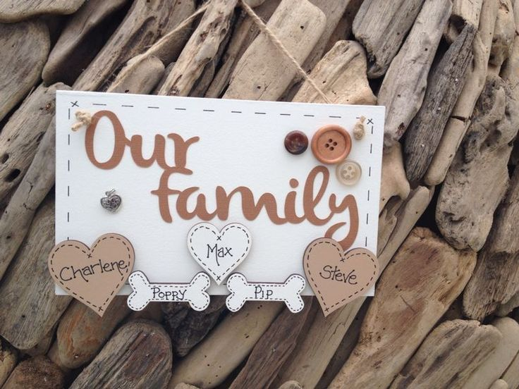Family Handmade Plaque Personalised Hearts Paws Bones for Cats Dogs