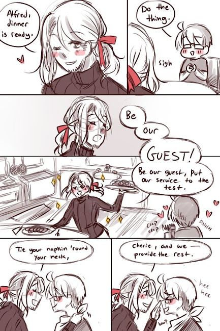 Hetalia FACE family France singing be our guest from Beauty and the Beast XD