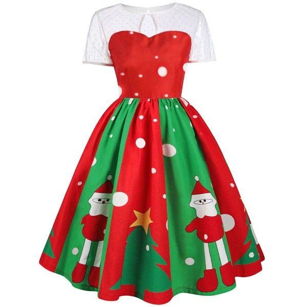 Plus Size Christmas Print Lace Panel Midi Dress (1.150 RUB) ❤ liked on Polyvore featuring dresses, plus size dresses, women plus size dresses, print dress, red christmas dress and mid calf dresses