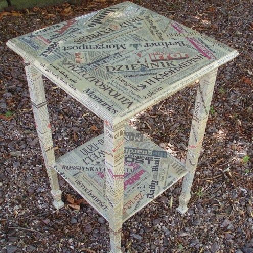 decoupage newspaper furniture