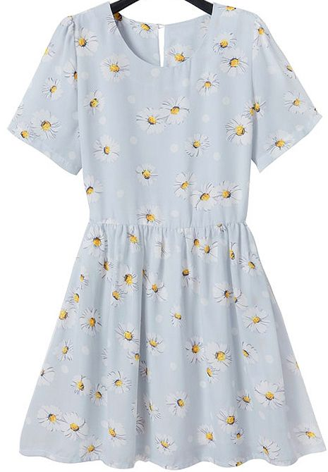 Buy Light Blue Short Sleeve Daisy Print Pleated Dress from abaday.com, FREE shipping Worldwide - Fashion Clothing, Latest Street Fashion At Abaday.com