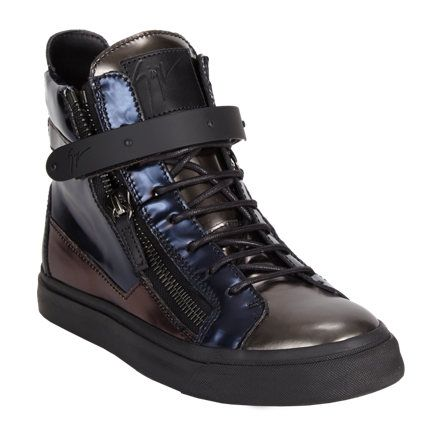 Giuseppe Zanotti Plated-Strap Double-Zip Sneakers at Barneys.com