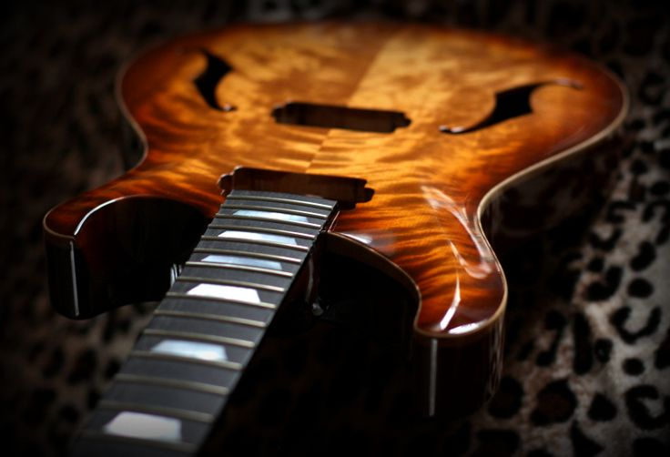 PRS style hollowbody guitar. Carved top is made of finnish flame birch.