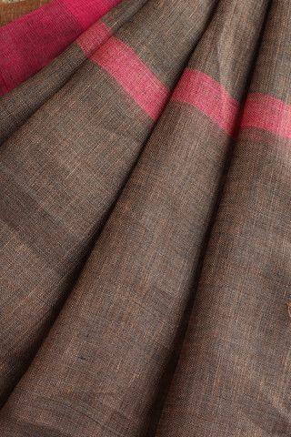 Peach Grey linen Saree Saree #linen #handwoven #saree from #bhagalpur #Grey…