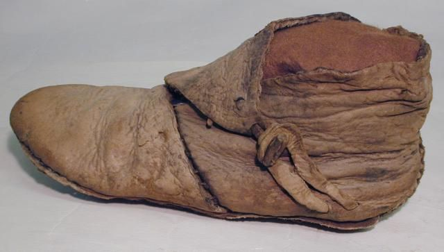Viking boot, 10th century, Yorkshire Museum. These are the pattern that Matthew's shoes are based off of.