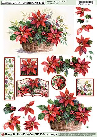 Craft Creations A4 die cut decoupage - Poinsettia Basket, Christmas