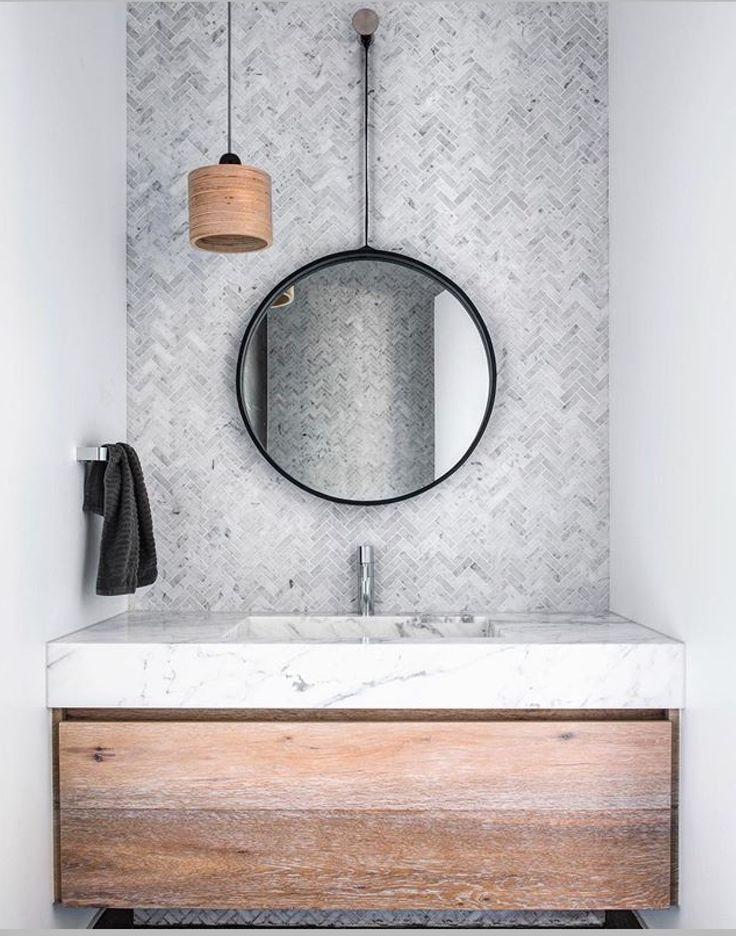 Fabulous Carrara Marble bathroom vanity, with Carrara herringbone mosaic tiles from @perinitiles . Stonework by @stonelux_au #cdkstone #carraramarble #carrara #marble #naturalstone #lovestone #naturesmasterpiece #designinspiration #vanity #bathroominspiration #lithofin