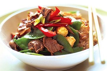 Ginger beef and vegetable stir fry.  Ideal for lunch or dinner, this quick and easy recipe is low in fat, carbs and kilojoules - perfect for those trying to be good! #low #carb #recipes for #dinner