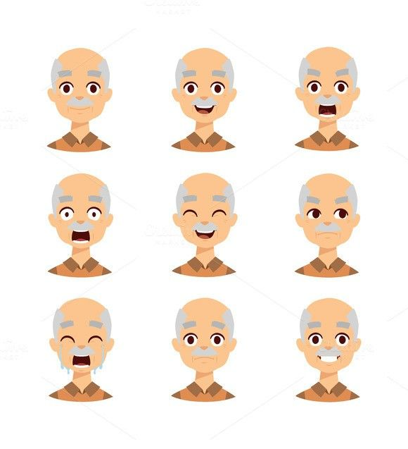 Old man emotions vector icons. Human Icons. $5.00