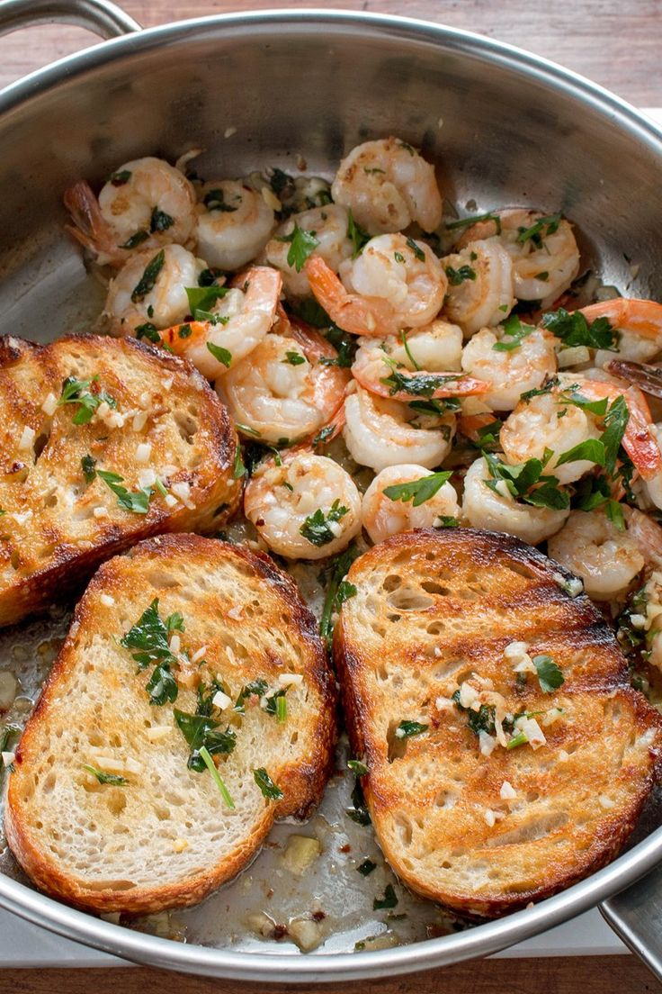 One Pan Lemon Garlic Shrimp Toast Recipe with Red Pepper Flakes, Butter, Parsley, and Sourdough Bread - Ready in 12 Minutes - Recipe with Video Tutorial