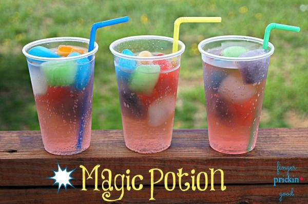 Magic Potion ------ Just mix up kool aid and poor in ice trays. Put frozen cubes in glass and pool a lemon lime soda over the ice cubes. The ice cubes start melting flavors making it a fun an magical drink.