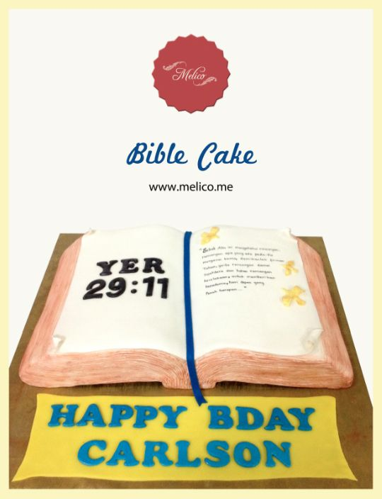 3D Cake - Bible Cake / Open Book Cake. #3dcake #cake #ediblecake #sculptedcake #noveltycake #birthdaycake #sugarart -- Like and Follow us #melicobali (Instagram) || www.melico.me