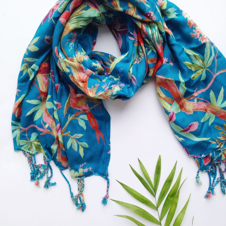 Bird of Paradise Scarf. Generous in size. Drapes beautifully, is light, and doesn't crease.  www.rosaliving.co.nz www.rosaliving.com.au
