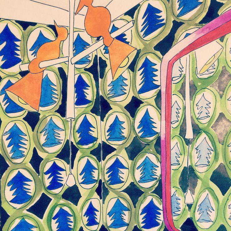 Illustration. Bathroom. Wallpaper. Carine Kruger. Cape Town. South Africa.