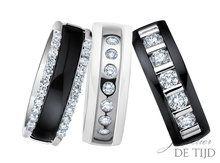 Gouden ringen met keramiek en briljant geslepen diamanten