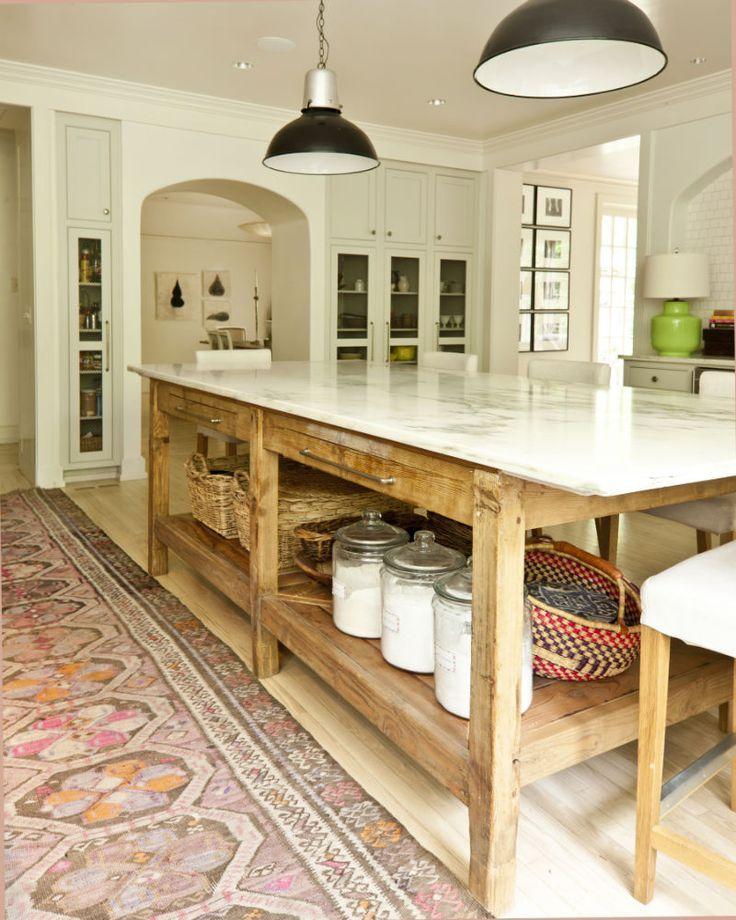 farmhouse chic rustic island adds to this gorgeous coastal kitchen