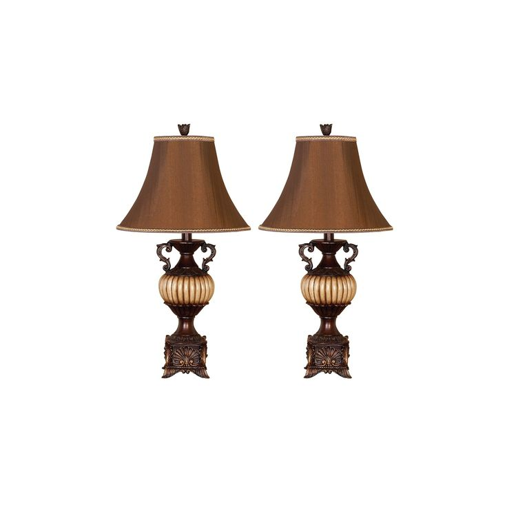 Set Of Two Table Lamps With Scroll Arm Detail And Bell Shades Product Set Of 2 Table Lampsconstruction Material Poly Lampen Wohnung Haus