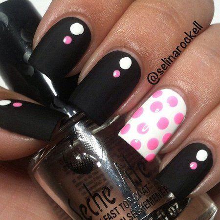 Black Matte with Polka Dots #white #black #pink #dots #Polkadots #holidaynails #nails #nailart #polishaddict #nailpolish #naillacquer - bellashoot.com