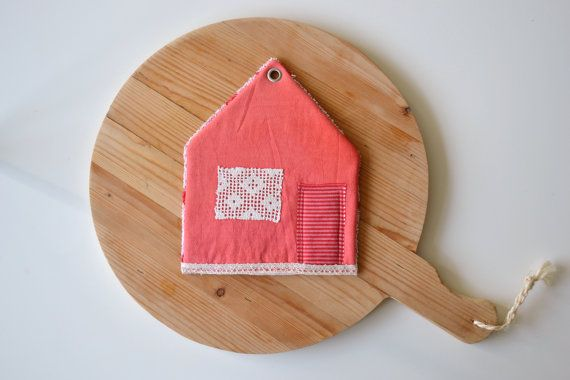 sale - new house gift - pointed roof house potholder - housewarming gift - cottage style kitchen - red trivet - foodie gift