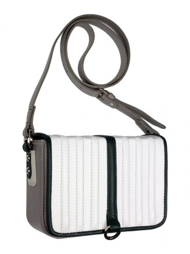 Extremely elegant leather coffer with shoulder belt. The bag is gray while the flap bag is white with dark-green piping. From the inside it is decorated with quilted lining in silver. Active suspended for a long, adjustable bar in gray. Each original handbag GOSHICO id is in the middle of the tab with our logo.  PRICE: 192.81 € http://goshico.com/en/duplicate-1-duplicate-1-duplicate-1-duplicate-1-1149.html