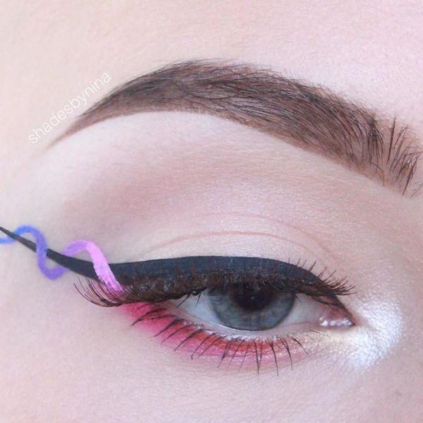 Machiaj de ochi creativ in nuante de roz si mov. #machiajcreativpentruochi #tusdeochicolorat