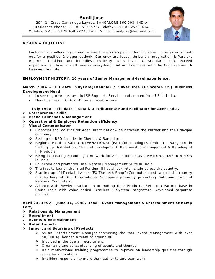 Resume Format India Resume Template Free Resume Templates Sample Resume Format